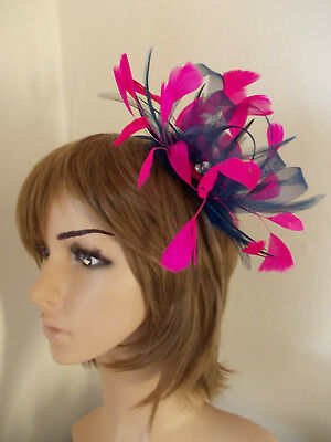 Navy Blue Cerise Hot Pink Looped Fascinator Feathers Diamante Headband  • 9.99£