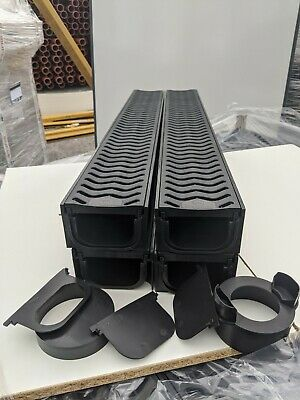 £44 • Buy POLY DRAINAGE CHANNEL DRIVEWAY & PATIOS 4mtr Plastic Grating FREE ACCESSORIES