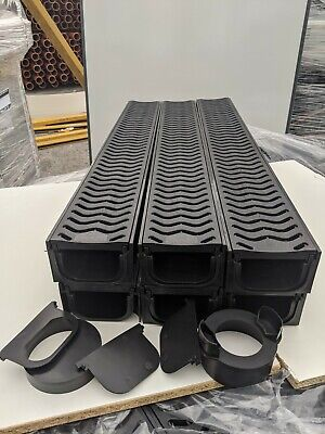 £62 • Buy POLY DRAINAGE CHANNEL DRIVEWAY & PATIOS 6mtr Plastic Grating FREE ACCESSORIES