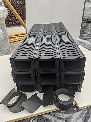 £88.99 • Buy POLY DRAINAGE CHANNEL DRIVEWAY & PATIOS 9mtr Plastic Grating FREE ACCESSORIES