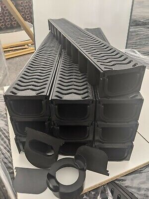 £94.99 • Buy POLY DRAINAGE CHANNEL DRIVEWAY & PATIOS 10mtr Plastic Grating FREE ACCESSORIES