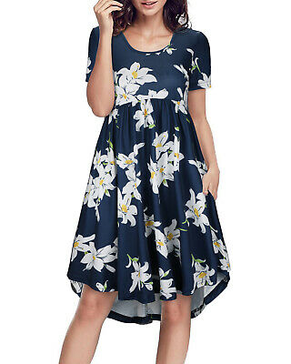 Women's Summer Short Sleeve Floral Dress Casual Loose Party Midi Dress Sundress • 6.99£