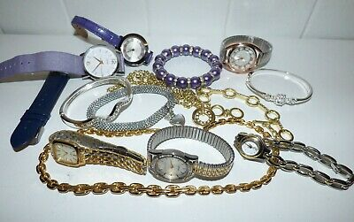 Job Lot 6 Watches Dkny Lorus Rotary Pm M&s Pearl Bracelet Bangles Gold Chain Etc • 45£