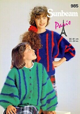 Ladies Sweater / Jumper Knitting Pattern For Mohair Yarn Sunbeam Patterns #985 • 0.99£