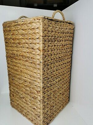 Vintage Large Square Lidded Laundry Hamper Storage Basket Wicker Woven Rattan • 34.95£