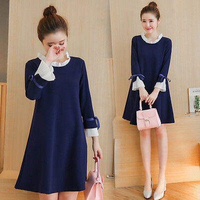 AU31.37 • Buy Women's Dress Maternity Casual Loose Skirts Bell Sleeve Casual Pregnant Dresses