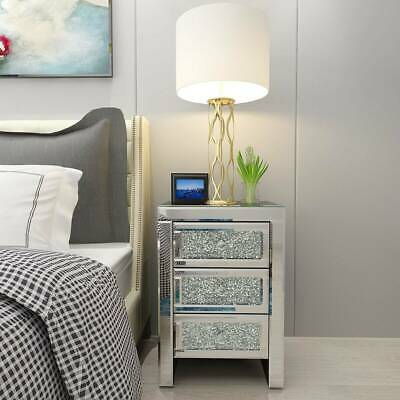 £229.99 • Buy 1/2pcs Crystal Mirrored Bedside Table Glass Nightstand Cabinet Bedroom Cabinet