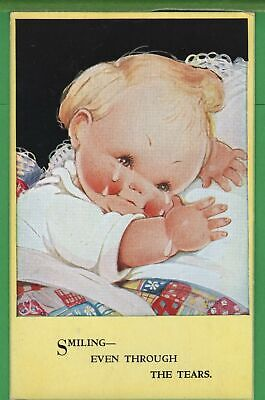 $6.98 • Buy Vintage Valentine's Mabel L Attwell Postcard Smiling Through Tears Baby Crying