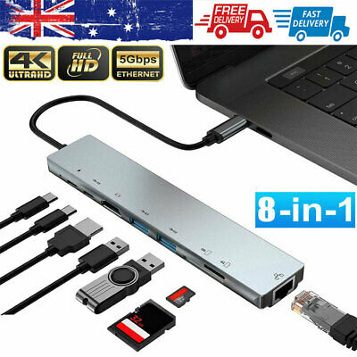 AU33.49 • Buy 8in1 USB-C Type C HD Output 4K HDMI USB 3.0 HUB Adapter For MacBook Pro IPad Pro