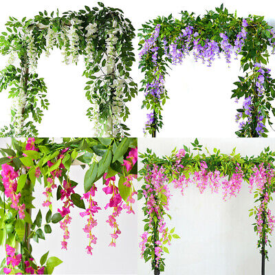 £8.99 • Buy 2Pcs Artificial Wisteria Vine 7FT Garland Plant Foliage Outdoor Trailing Flowers