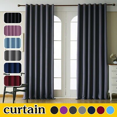 Thick Thermal Blackout Curtains Eyelet Ring Top Ready Made Pair Curtains Panel • 20.99£