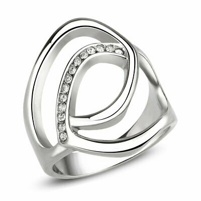 Ladies Silver Ring Band Cz Stainless Steel Flat Stamped No Tarnish New 3731 • 14.99£