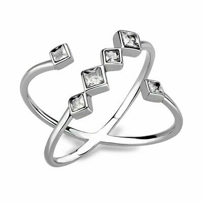 Ladies Silver Ring Band Cz Stainless Steel Princess Flat Stamped  Open New 3730 • 14.99£