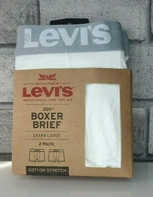 £12.49 • Buy 2 Pack  Size XLarge  Levis 200SF Mens Boxer Shorts Briefs White XL BRAND NEW
