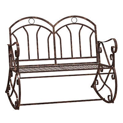 £96.99 • Buy Outsunny 2 Seater Metal Garden Bench Outdoor Rocking Chair Bronze Love Seat