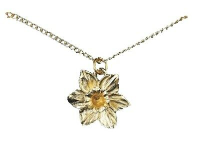£4.95 • Buy Yellow Daffodil Pendant Gold Plated Welsh Wales Souvenir Gift Bag Charm Necklace