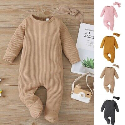 AU16.27 • Buy Newborn Infant Baby Boy Girl Long Sleeve Solid Romper Jumpsuit Clothes+Headband