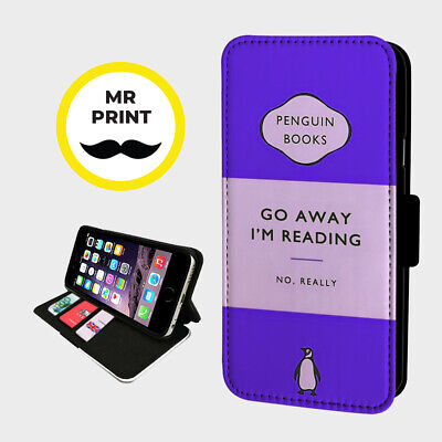 GO AWAY IM READING BOOK - Faux Leather Phone Flip Cover - Fits Iphone & Samsung • 9.98£