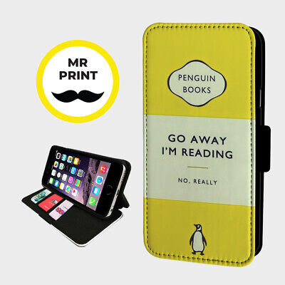 GO AWAY IM READING JOKE - Faux Leather Phone Flip Cover - Fits Iphone & Samsung • 9.98£