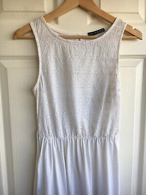 Ladies Dress Size 10 White Lace Bodice Skater Style Stretch Skirt Summer Dress • 2.99£