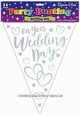 12ft Sparkly White + Silver Foil Wedding Bunting Flag Banner Just Married Decor • 2.89£