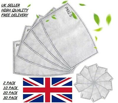£1.89 • Buy 10 X PM2.5 Carbon Activated Filter For Washable Reusable Face Mask 5 Layered UK