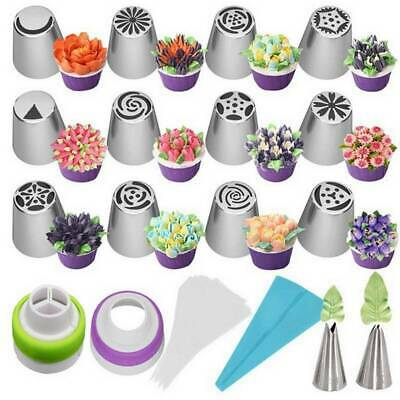 27pcs/set Russian Flower Icing Piping Nozzle Decor Topper Cake Tips Tools Baking • 4.99£