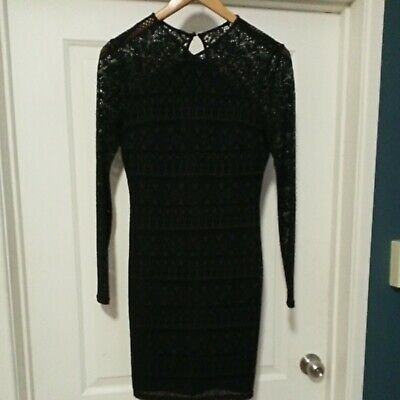 AU10 • Buy Forever New Long Sleeve Black Lace Lined Fitted Cocktail Party Dress SZ 8