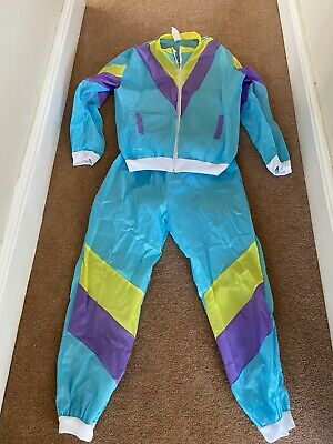 """80""""s Fancy Dress Mens Shell Suite Jacket Worn Once Trousers Not Worn L Polyester • 10.99£"""