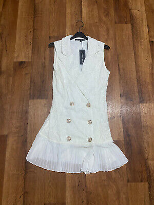 Isawitfirst White Pleated Hem Lace Blazer Dress - Size 8 UK New With Tags • 5£