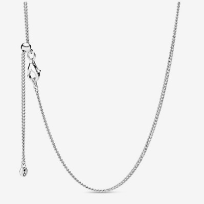 Genuine PANDORA 925 Silver Chain Necklace Basic Naked Chain 60Cm Adjustable W • 12.99£
