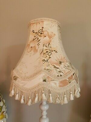 Vintage Floral Lampshade With Lace And Tassels Fringing Pale Peachey Colours • 9£
