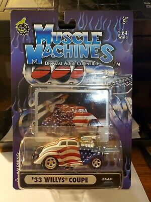 Funline Muscle Machines '33 Willys Coupe Flag Die Cast Red White Blue • 5.06£