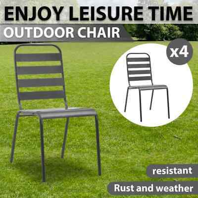 AU266.99 • Buy VidaXL 4x Outdoor Chairs Slatted Design Steel Dark Grey Garden Seat Furniture