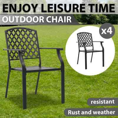 AU373.99 • Buy VidaXL 4x Outdoor Chairs Mesh Design Steel Black Garden Seating Furniture