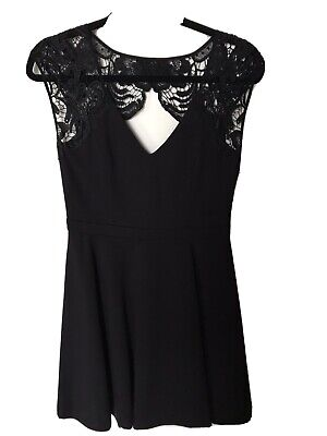 AU50 • Buy BNWOT Forever New Black Skater Style Dress - Heavy Fabric With Lace - Size 10