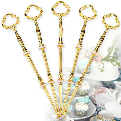 £7.59 • Buy 5 Set 3 Tier Cake Plate Stand Floral Handle Cupcake Dessert Toppers Holder Rod