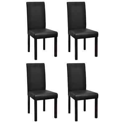 AU300.99 • Buy VidaXL 4x Dining Chairs Black Artificial Leather Kitchen Seating Furniture