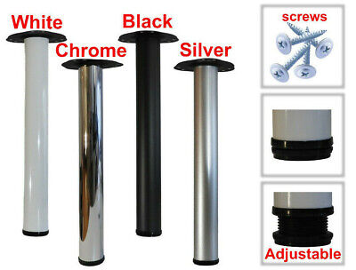 Metal Table Legs Adjustable 710mm Black White Silver Chrome Fitting Kit Included • 15.55£