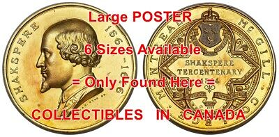 SHAKESPEARE 1864 Misprint ? McGILL COLLEGE Medal = POSTER Coin 6 SIZES 17 -7 FT • 27.70£