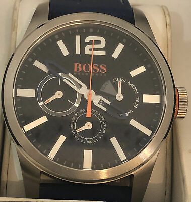 Hugo Boss Quartz Watch With 24hr Dial HB.242.1.14.2817 Box & Papers, Blue Strap • 50£