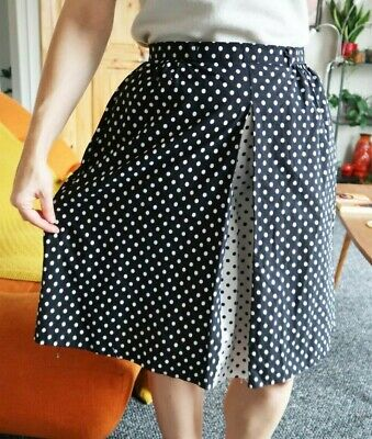 Vintage Black White Polka Dot Skirt UK 10 12 50s Retro Rockabilly Pockets Cotton • 9.99£