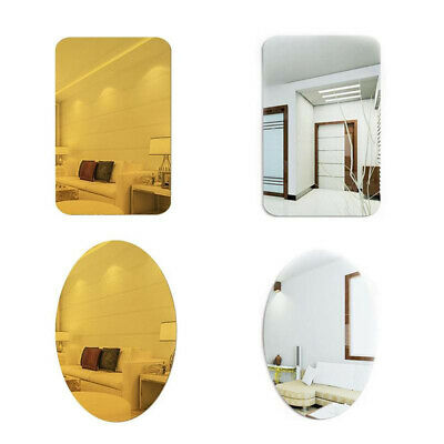 Self-adhesive Reflective Glass Decals Bathroom Dedroom Mirror Oval Rectangle • 6.76£