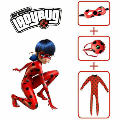 Kids Girls Miraculous Ladybug Cosplay Costume Jumpsuit Outfits Tight Fancy Dress • 10.69£