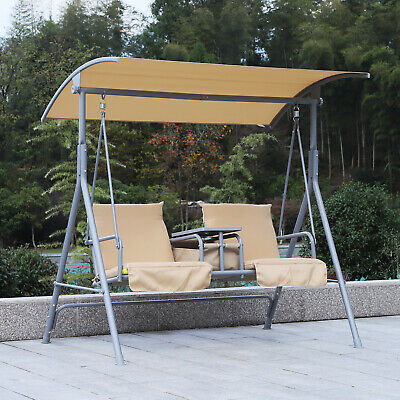 £114.99 • Buy Outsunny Garden Double Swing Chair Lounger Outdoor Bench Seat Adjustable Canopy