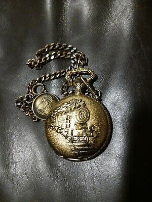 $22 • Buy Majestron Quartz Pocketwatch With Train On Front, Back And Face