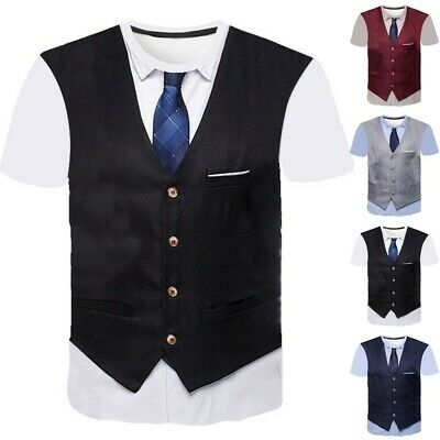 £7.71 • Buy Fashion T-Shirt Tie Funny Graphic Graphics Tuxedo Suit Summer 3D T Casual