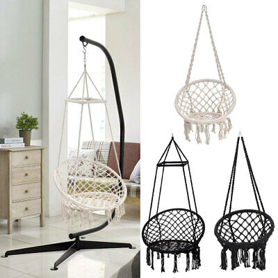 Hammock Swing Chair Hanging Rope Seat Net Chair Garden Macrame Swing Stand Set • 35.94£