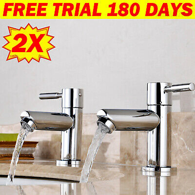 £17.90 • Buy Pair Taps Twin Tap Kitchen Basin Sink Hot & Cold Chrome Bathroom Brass Faucet