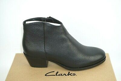 £36.99 • Buy Clarks 'mila Myth' Black Leather Zip Up Ankle Boots. D Fitting. Bnib